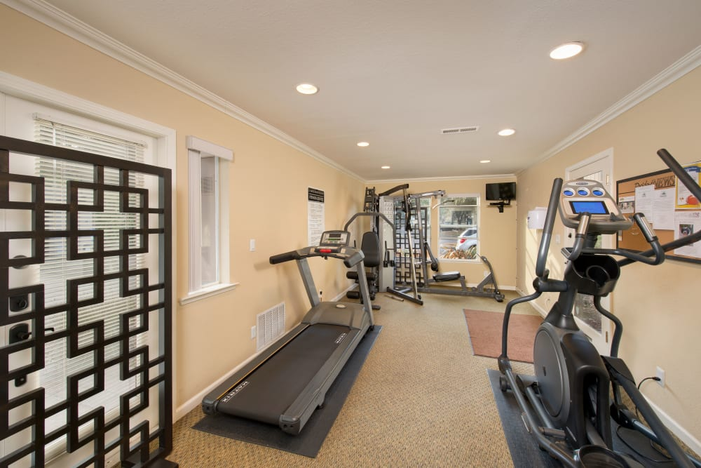 State of the art fitness center at Seventeen Mile Drive Village Apartment Homes in Pacific Grove, California