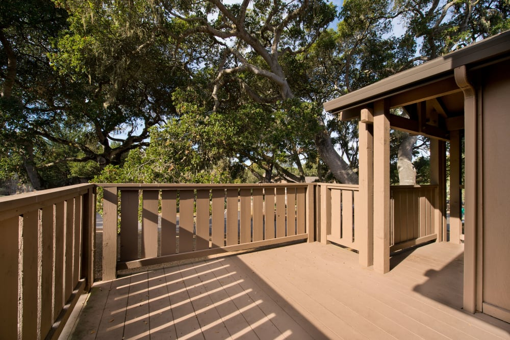 Spacious deck of a model unit at Seventeen Mile Drive Village Apartment Homes in Pacific Grove, California