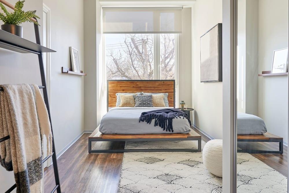 Cozy bedroom at The Link Evanston in Evanston, Illinois