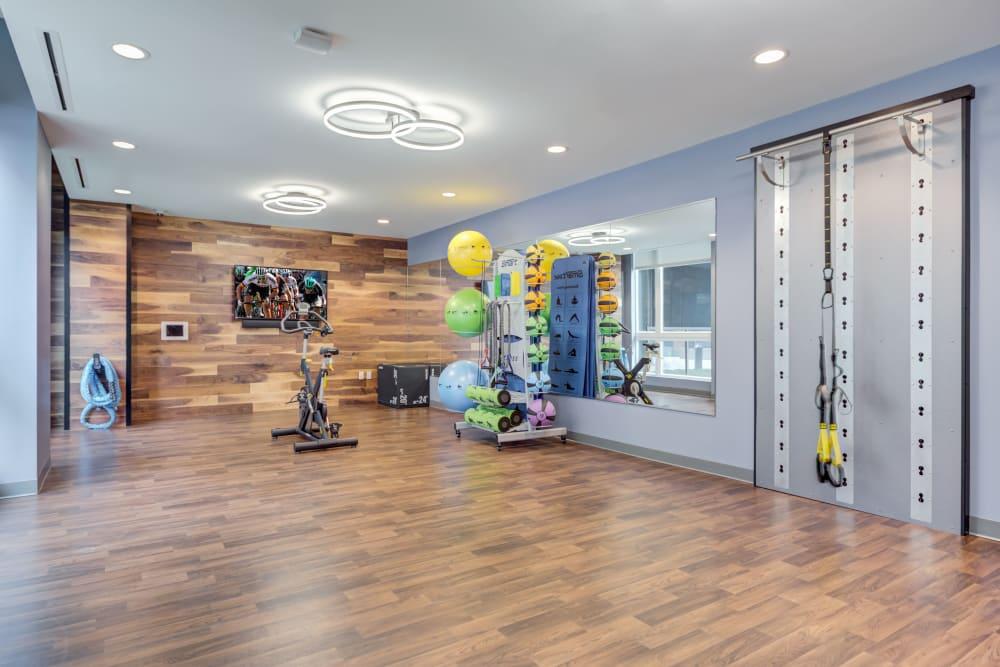 Yoga studio at The Link Evanston in Evanston, Illinois