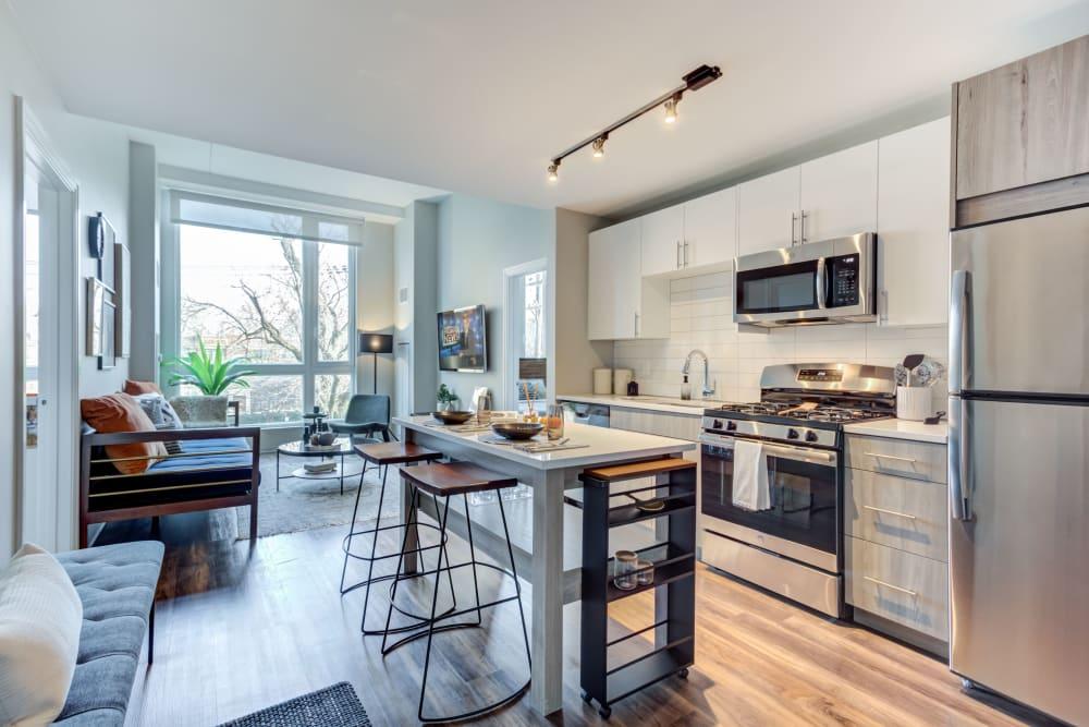 Kitchen with stainless steel kitchen at The Link Evanston in Evanston, Illinois
