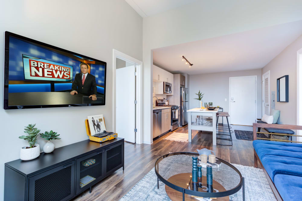 Living room with a Smart TV at The Link Evanston in Evanston, Illinois