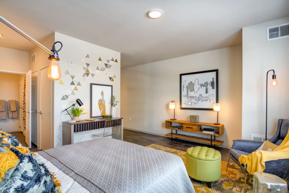 Bright, spacious bedroom at The Link Minneapolis in Minneapolis, Minnesota