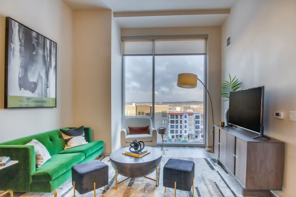 Living room with a view at The Link Minneapolis in Minneapolis, Minnesota