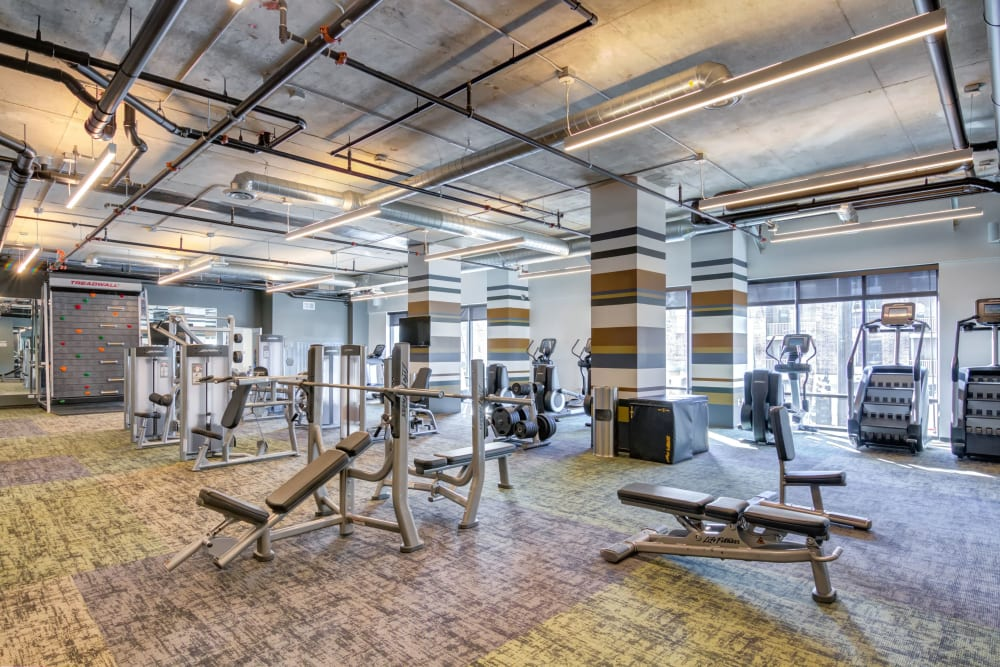 Fully equipped fitness center at The Link Minneapolis in Minneapolis, Minnesota