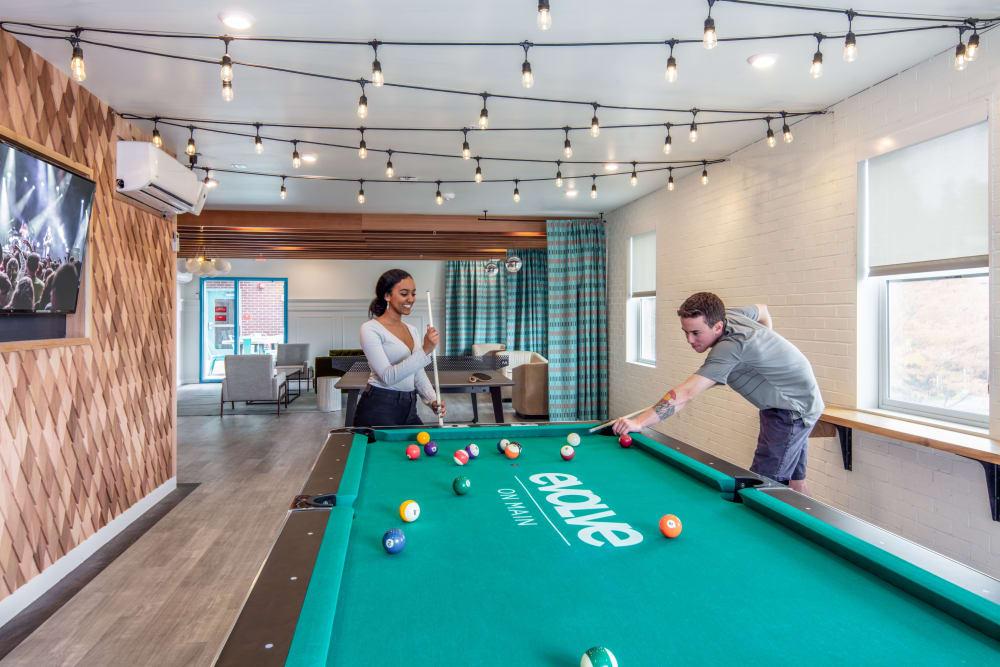 Billiards table at evolve on Main in Pullman, Washington