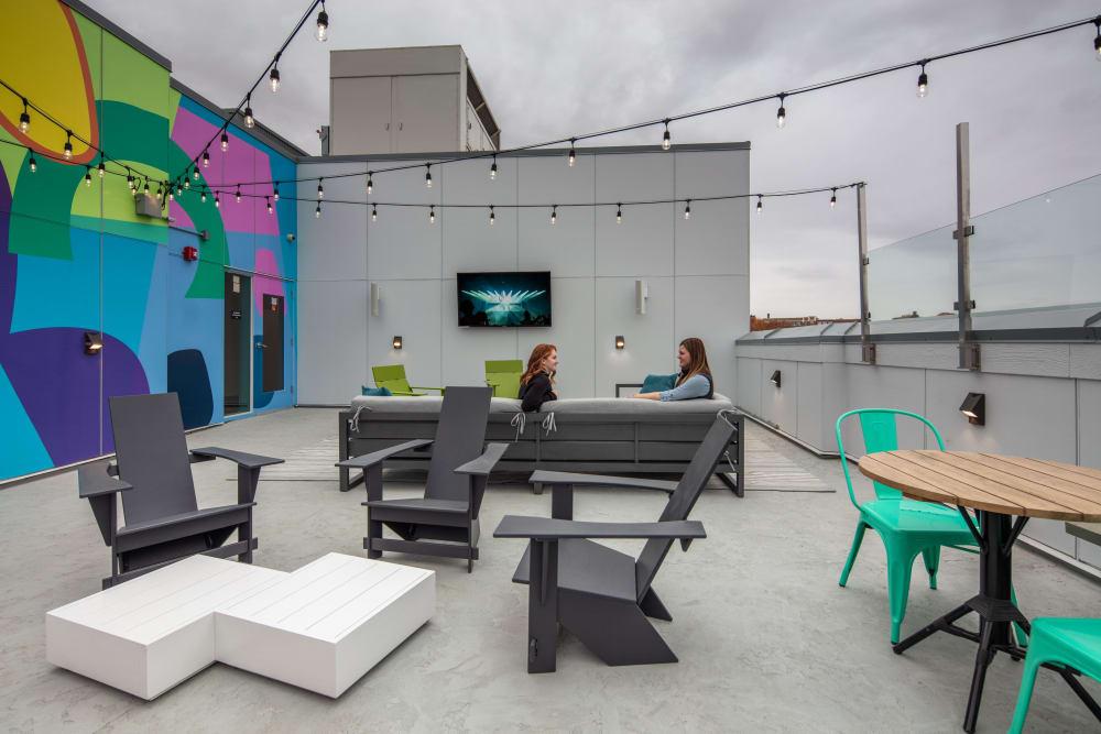 Outdoor patio lounge at evolve on Main in Pullman, Washington