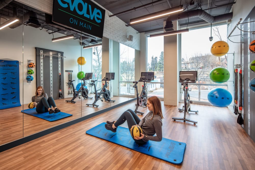 Yoga room in evolve on Main's fitness center in Pullman, Washington