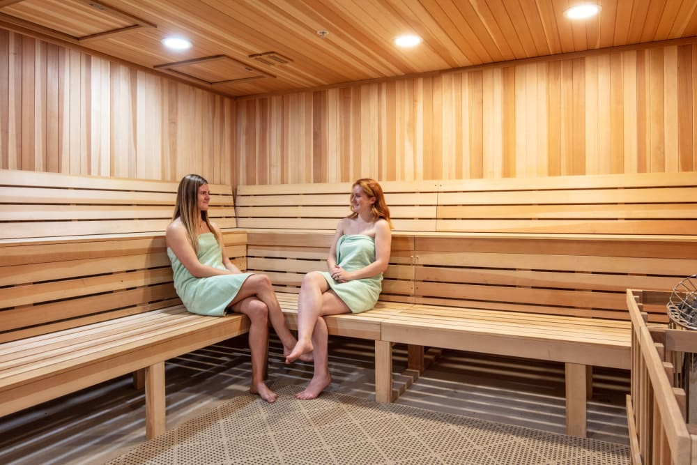 Onsite sauna at evolve on Main in Pullman, Washington