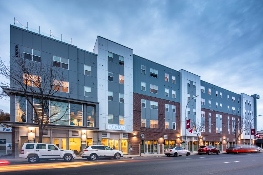 Exterior view of evolve on Main in Pullman, Washington