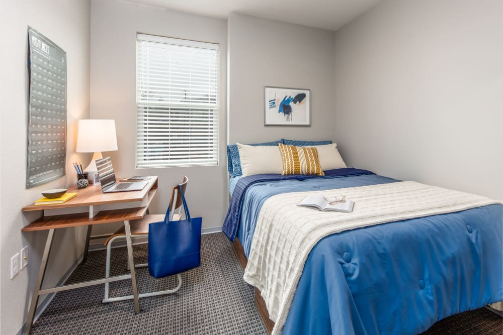 Spacious bedroom at evolve on Main in Pullman, Washington