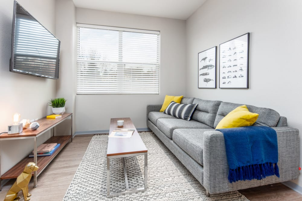 Cozy living room at evolve on Main in Pullman, Washington