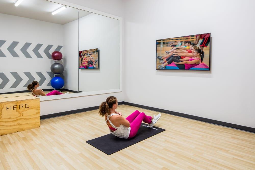 Yoga studio at HERE Kansas in Lawrence, Kansas