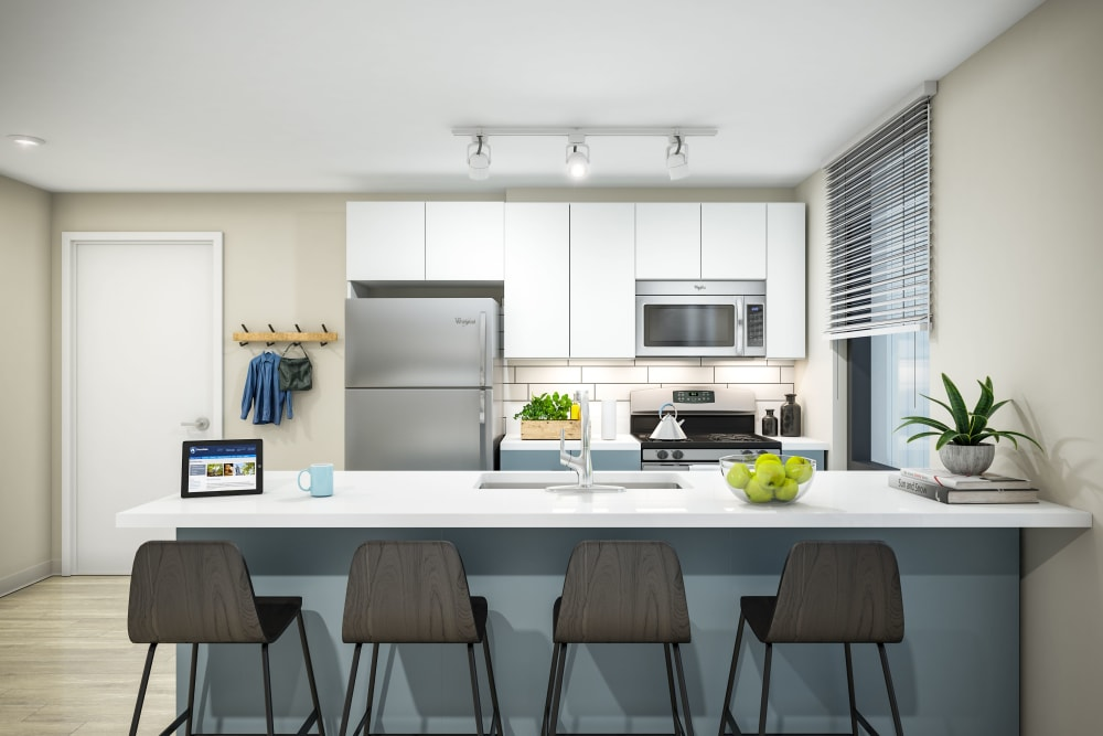 Bright, modern kitchen at HERE State College in State College, Pennsylvania