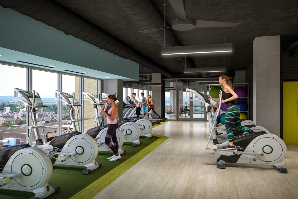 State-of-the-art fitness center at HERE State College in State College, Pennsylvania