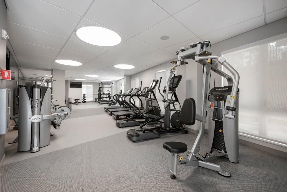 Exercise equipment at Velō in Boston, Massachusetts