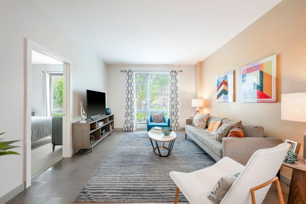 Living room at  Velō in Boston, Massachusetts