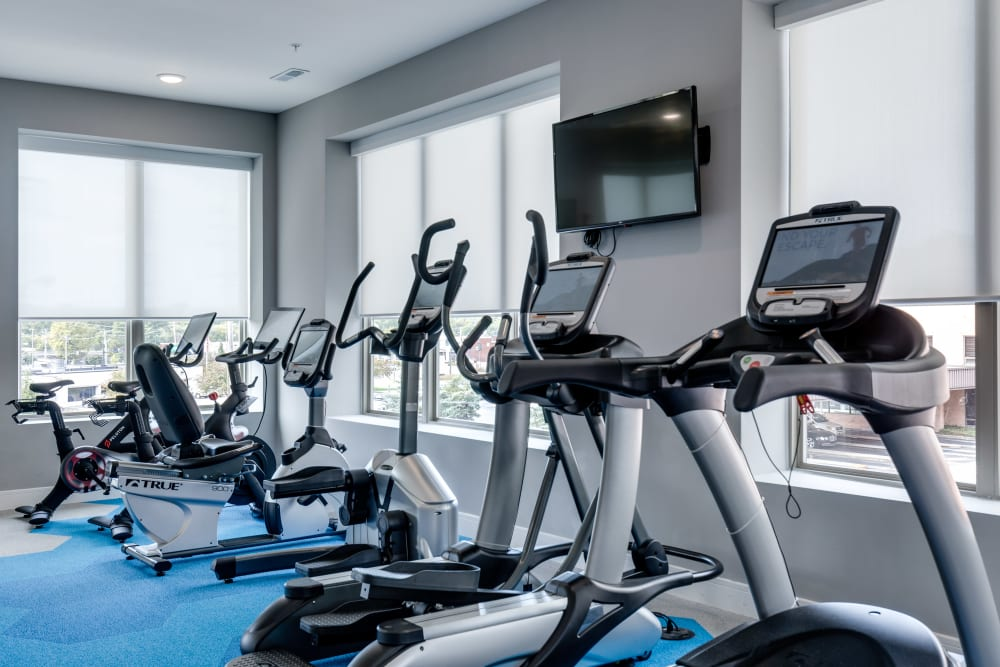 Luxury workout room at The Barton in Clayton, Missouri