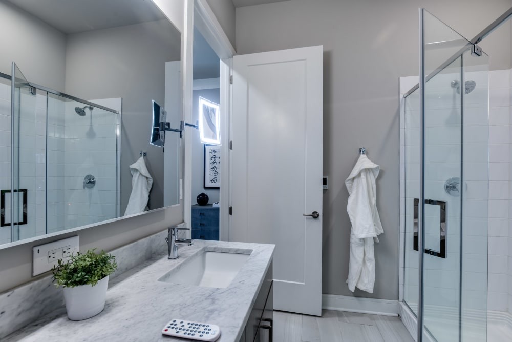 Model bathroom at The Barton in Clayton, Missouri