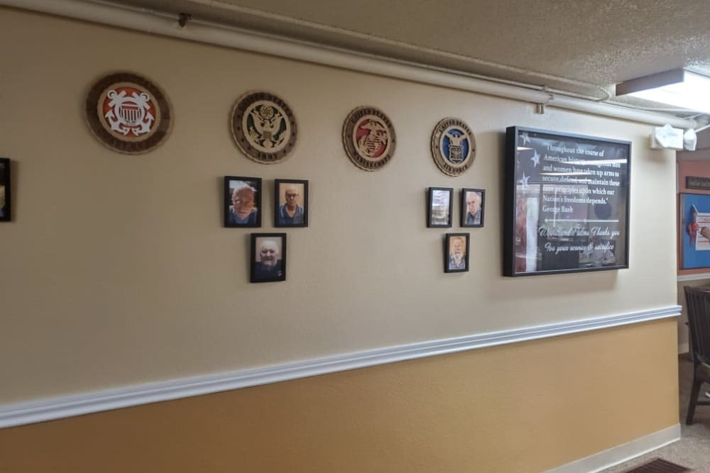Pictures hung up at Woodland Palms Memory Care in Tucson, AZ