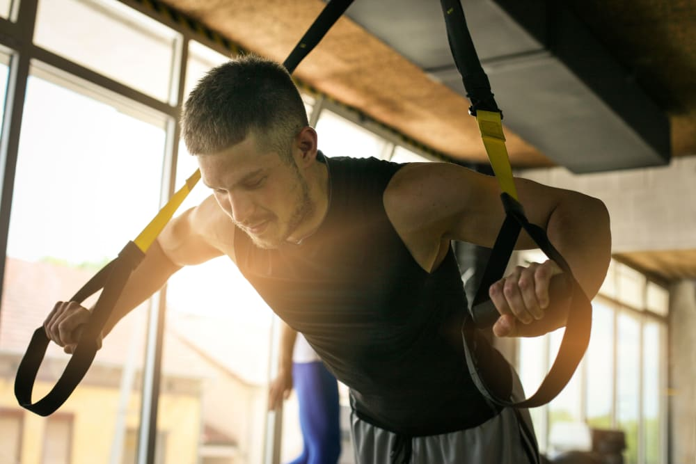 Resident working out at evolve on Main in Pullman, Washington