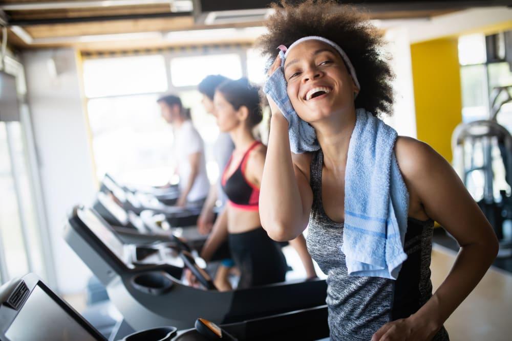 Residents running on the treadmills at HERE Kansas in Lawrence, Kansas