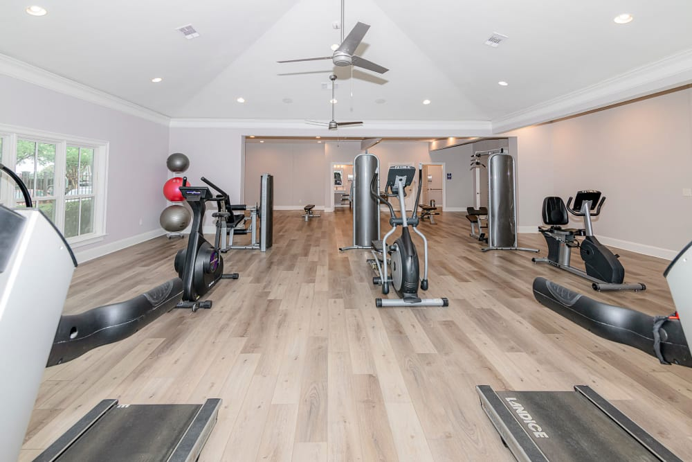 Plenty of individual workout station in the fitness Center at The Lyndon in Irving, Texas