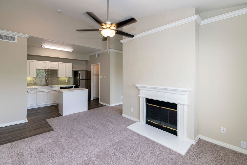 Fireplace in the model family room at The Lyndon in Irving, Texas