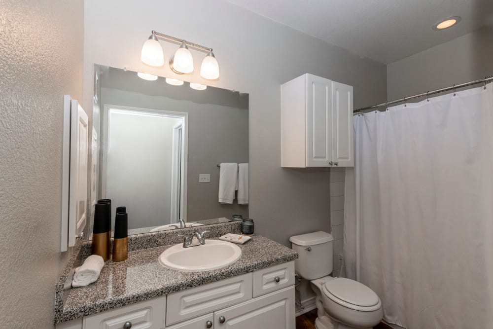 Guest bathroom with large vanity mirror at The Lyndon in Irving, Texas