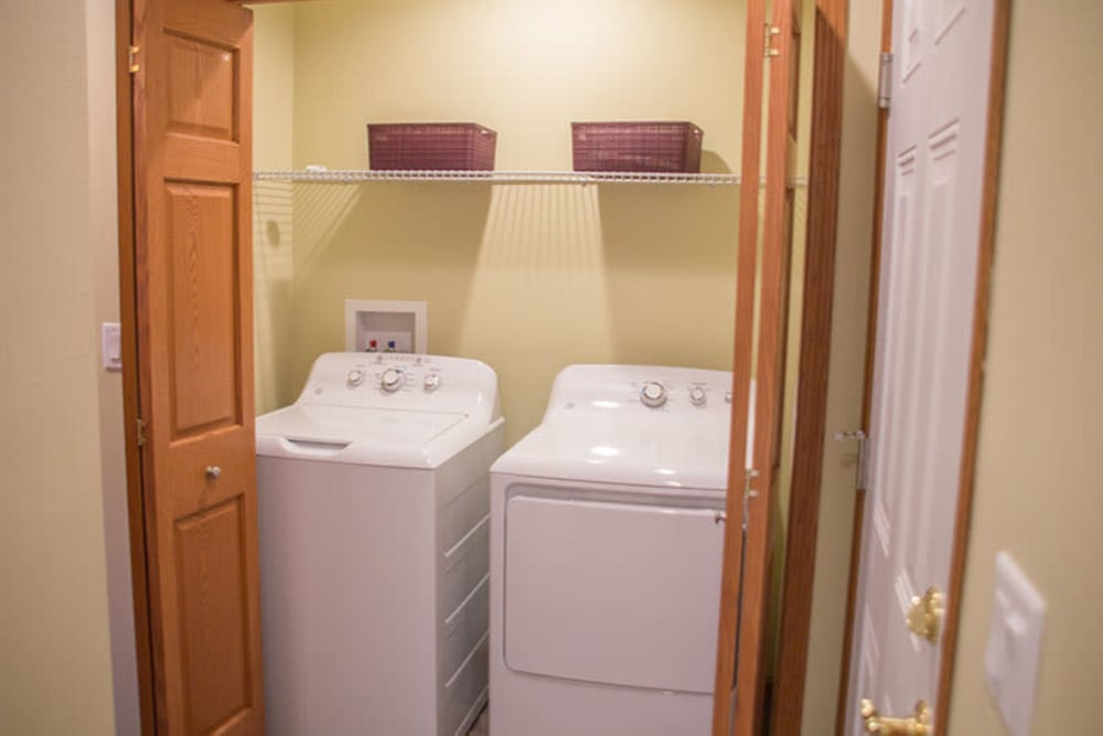 In-unit washer and dryer in a townhome at Arlington Place Oelwein in Oelwein, Iowa