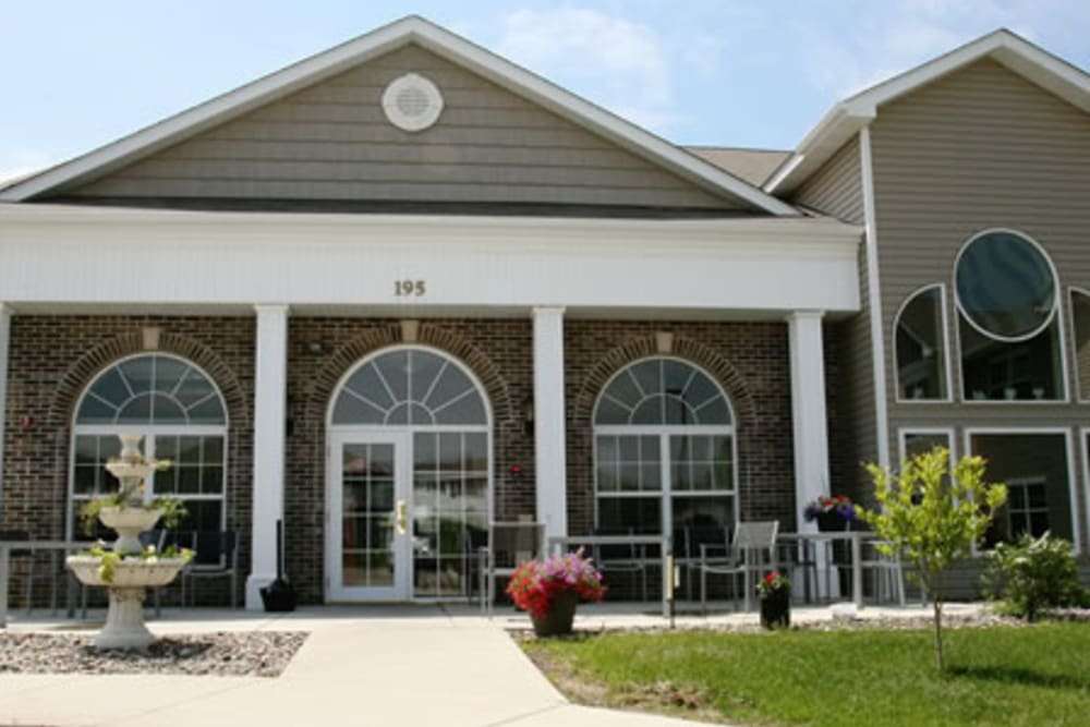 View of the clubhouse from the outside at Traditions of Owatonna in Owatonna, Minnesota