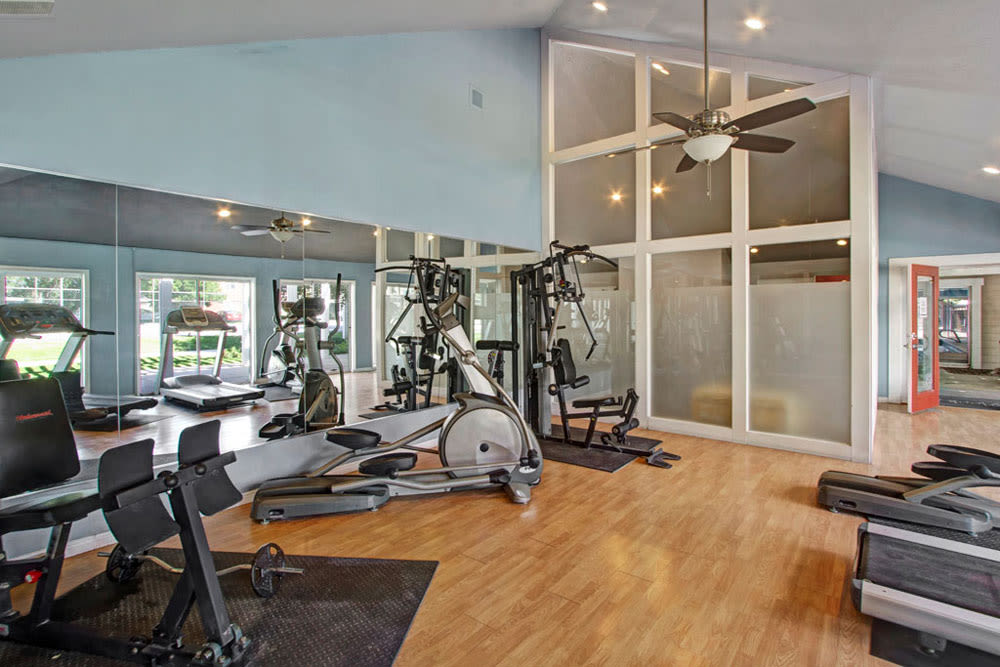 Plenty of individual workout stations in the fitness center at Overlook Point Apartments in Salt Lake City, Utah