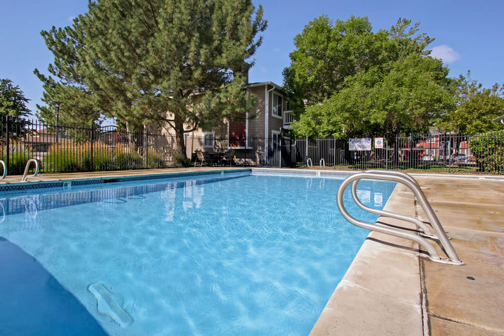 Large glimmering outdoor pool at Overlook Point Apartments in Salt Lake City, Utah