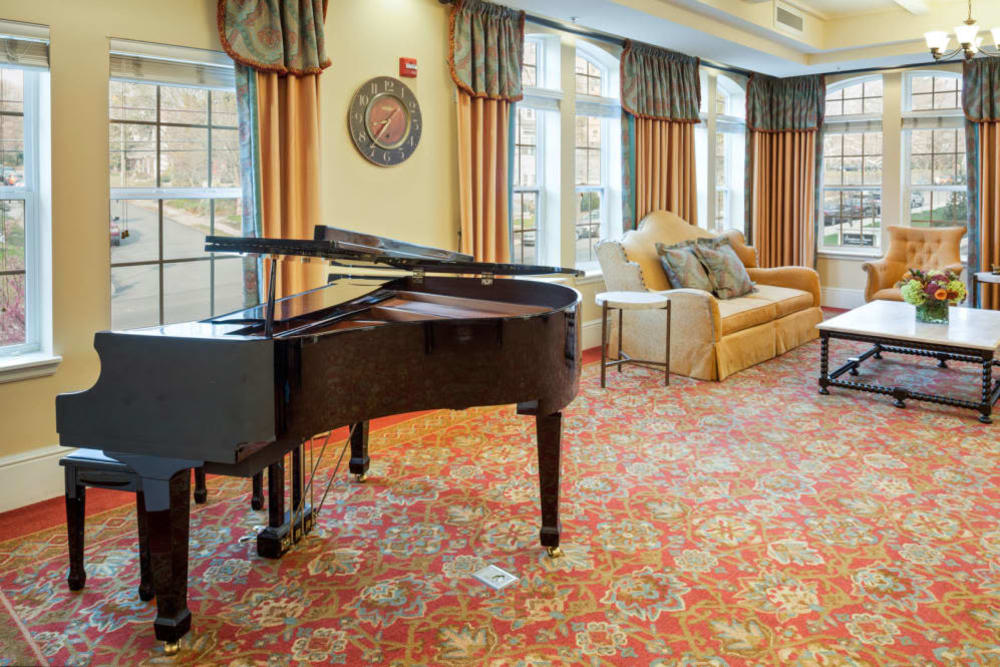 Piano in activity room at Symphony Square in Bala Cynwyd, Pennsylvania