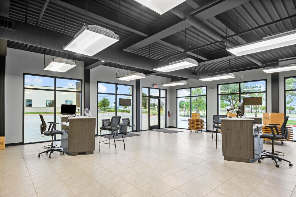 Welcoming leasing office interior at Storage 365 in Plano, Texas