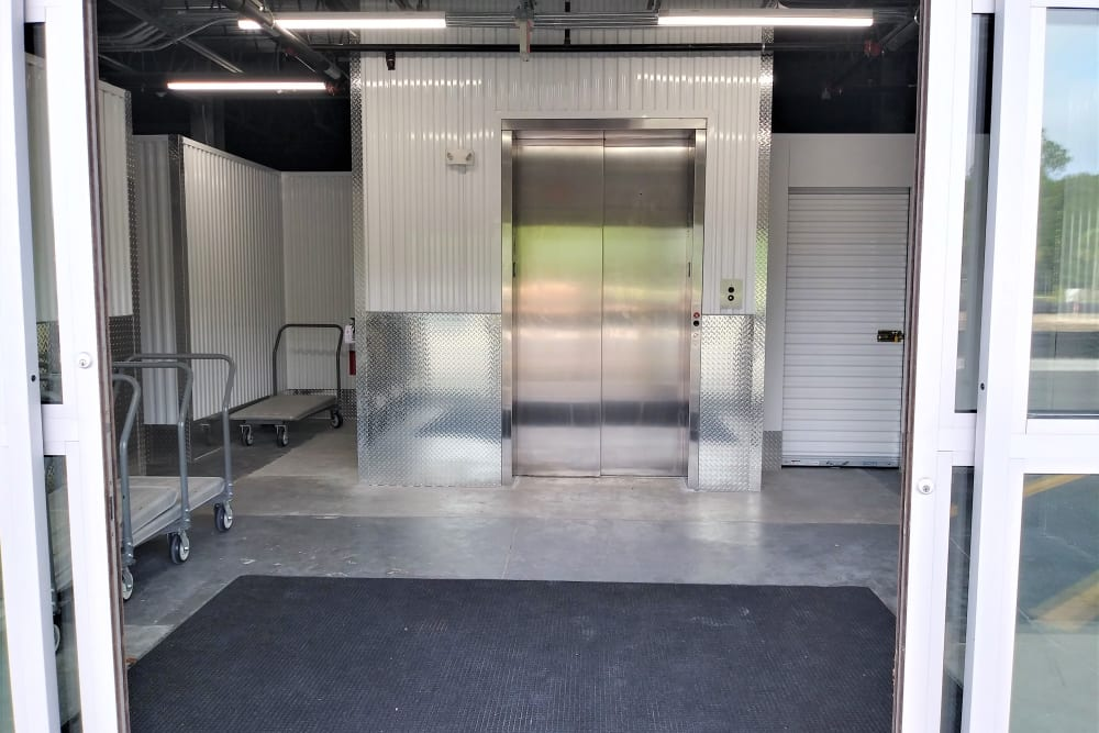 Entrance with elevator at My Neighborhood Storage Center in Jacksonville, Florida