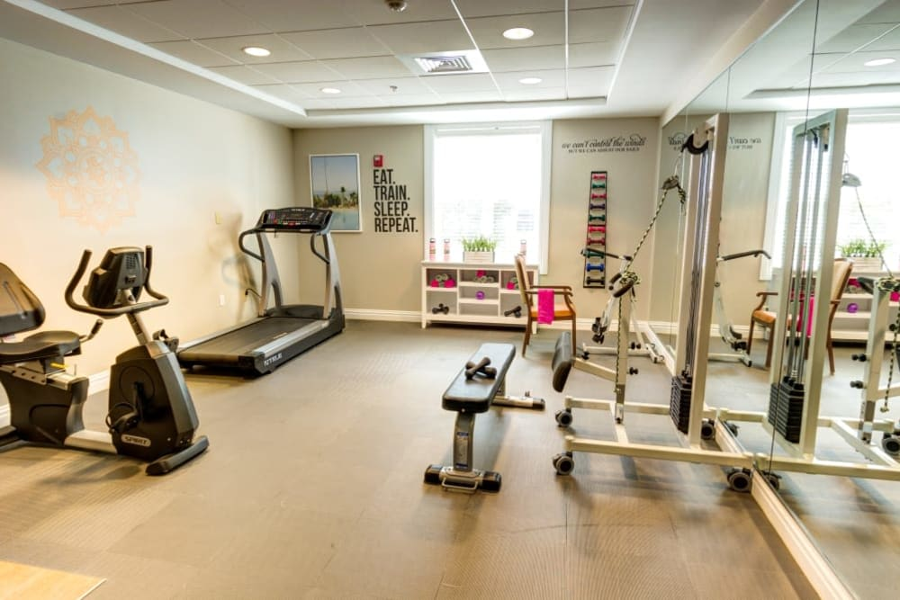 Room with exercise equipment at Symphony Manor in Baltimore, Maryland