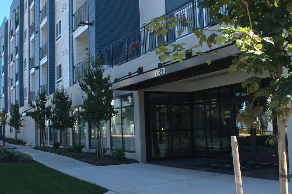 Leasing office entrance at LARC at Burien in Burien, Washington