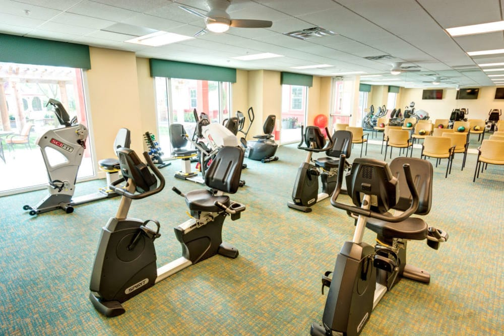 Exercise bikes in fitness room at Symphony at Stuart in Stuart, Florida