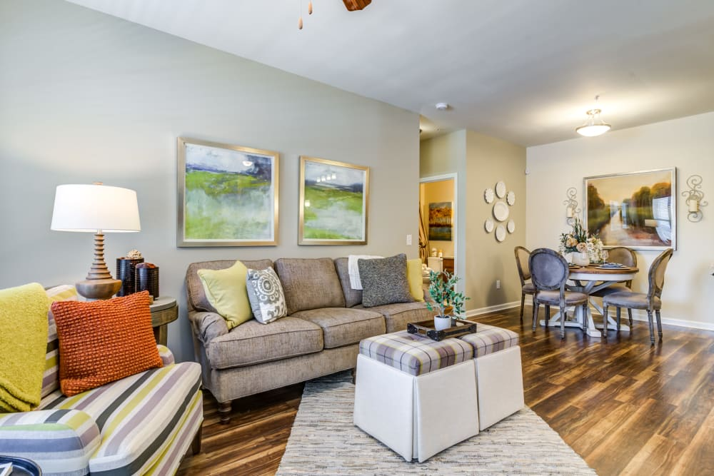 Model living room at Commonwealth at 31 in Spring Hill, Tennessee