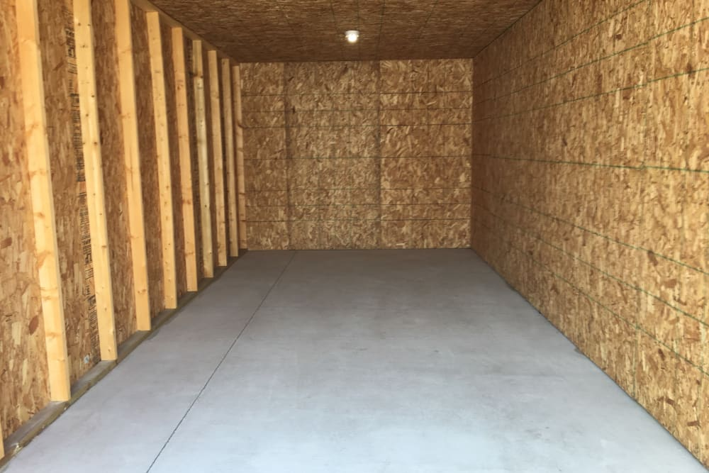 Large unit interior at Devon Self Storage