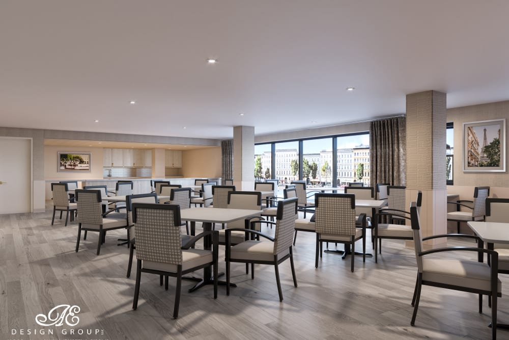 Dining Room Model Rendering at Esplanade of Woodmere Senior Living