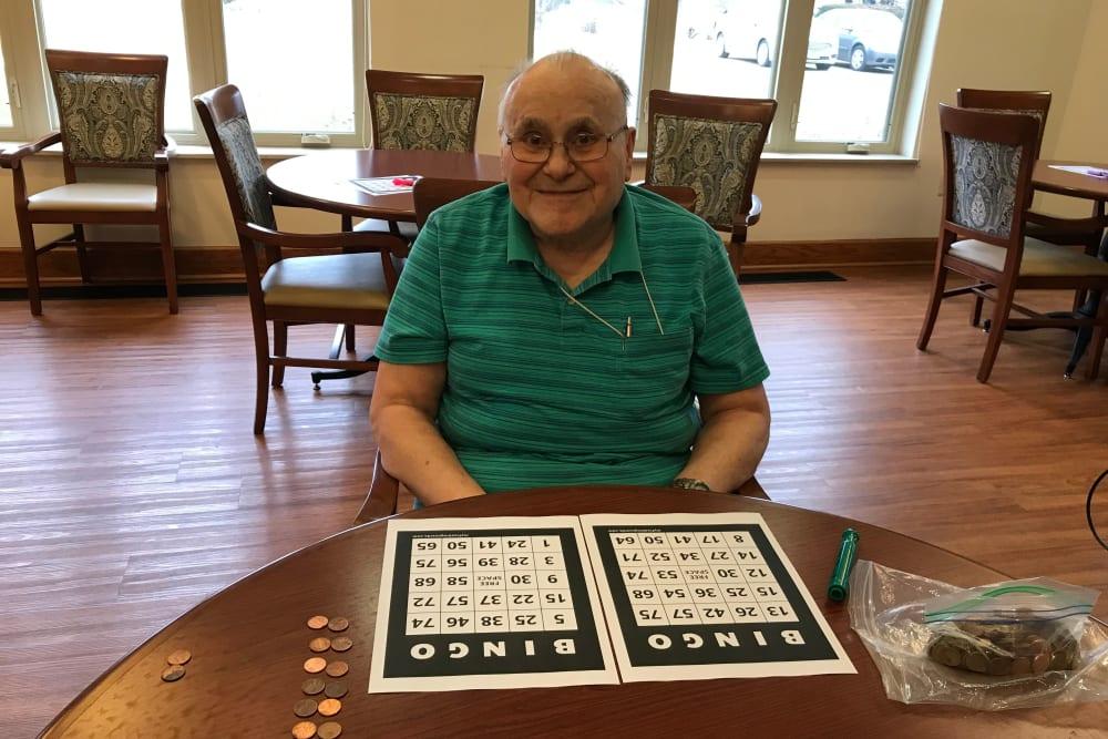 Resident playing bingo at Prairie Hills Cedar Rapids in Cedar Rapids, Iowa.