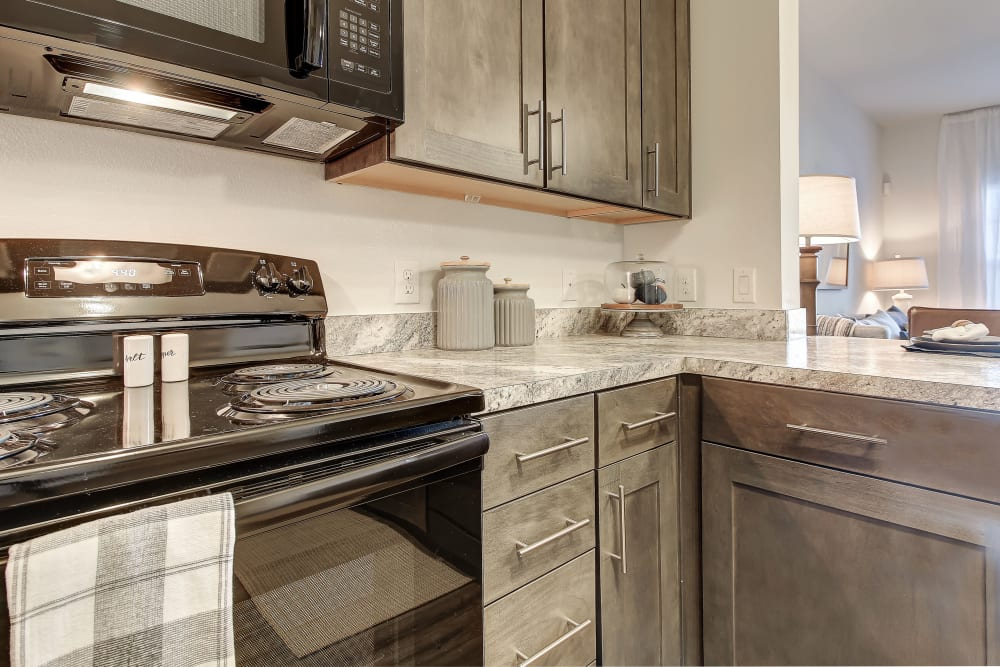 Kitchen appliances and cabinets at The Emerson at Forney Marketplace
