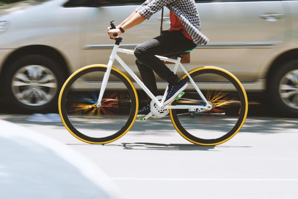 Resident riding his bike near The Link Evanston in Evanston, Illinois