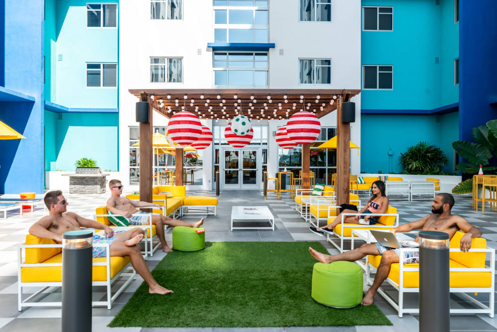 Lush courtyard lounge at IDENTITY Miami in Miami, Florida