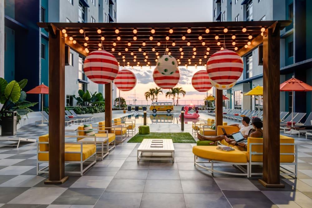 Outdoor lounge space at IDENTITY Miami in Miami, Florida
