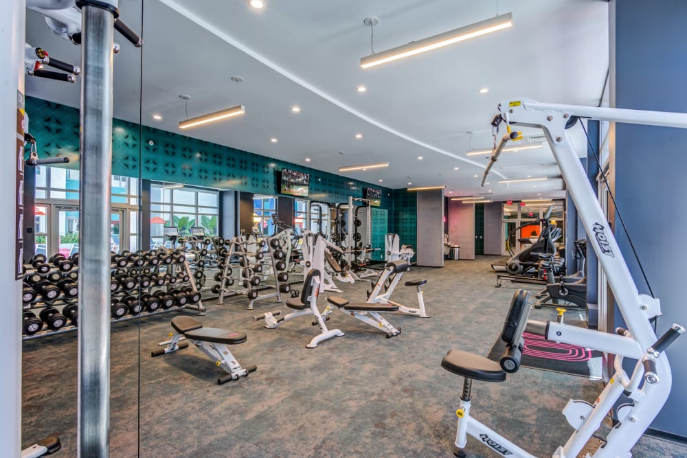 Fully equipped fitness center at IDENTITY Miami in Miami, Florida