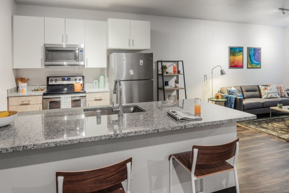 Kitchen with stainless steel appliances at IDENTITY Reno in Reno, Nevada