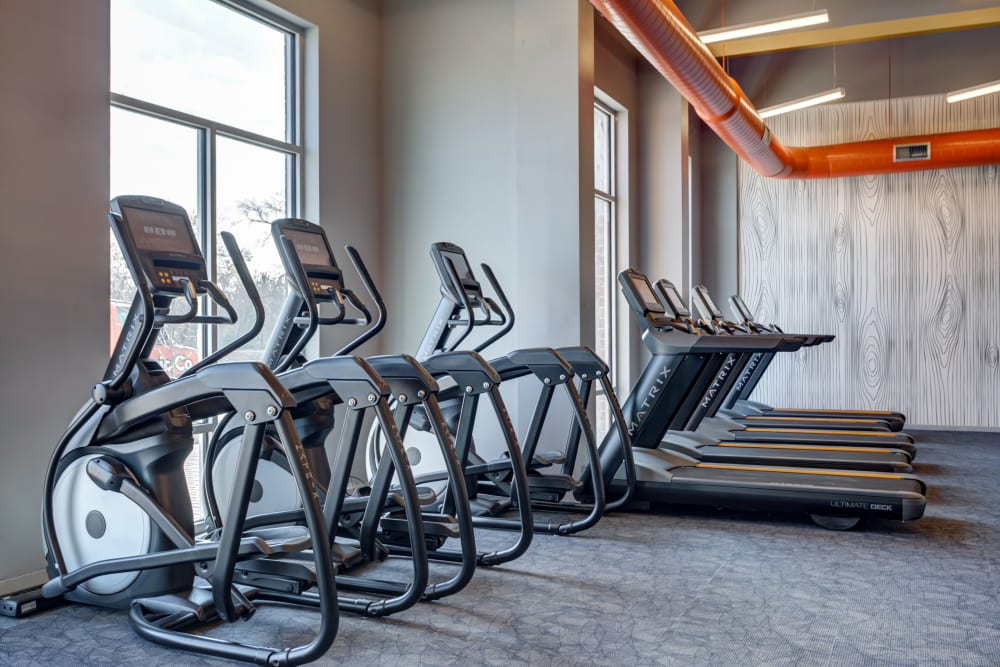 Fitness center at LATITUDE at River Landing in Coralville, Iowa